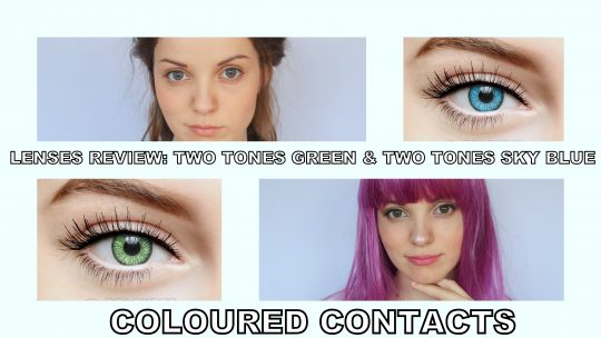 Lenses review: Two tones green & Two tones sky blue from Coloured Contacts